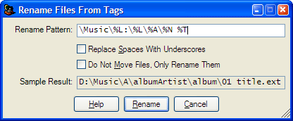 Renaming files from tag information